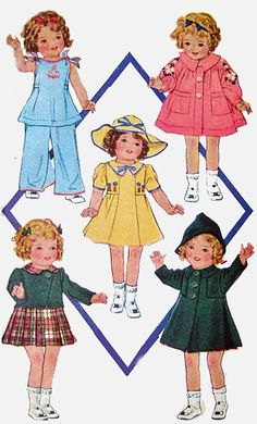 "OOP Vintage 1930s McCall 418 McCall Doll Clothes Pattern 'MOVIE Dolls"" 13 Inch Shirley Temple"
