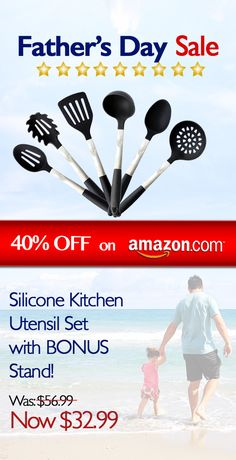 Father's Day Sale is now on!  These strong utensils are sure to impress!  http://www.amazon.com/Pro31Living-Kitchen-Utensils-Silicone-Stainless/dp/B00N9CP2FO/ref=sr_1_120?s=kitchen&ie=UTF8&qid=1465004792&sr=1-120&keywords=kitchen+utensil+set
