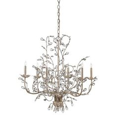 Crystal Bud Silver Granello Six-Light Chandelier
