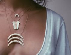 Mini Double Bone Horn Necklace / Cow Nose Shark Tooth / Triple Row Bone Horn Necklace!