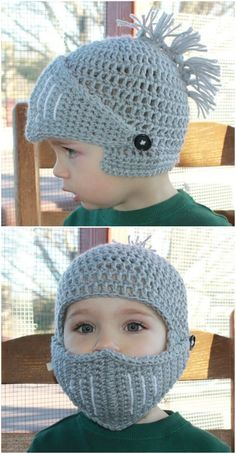 Crochet Knight Helmet Pattern Hats And Ideas PDF – örgü – Kinder Crochet Mask, Crochet Faces, Crochet Beanie, Free Crochet, Knit Crochet, Crochet Buttons, Knights Helmet, Baby Hats Knitting, Knitted Hats