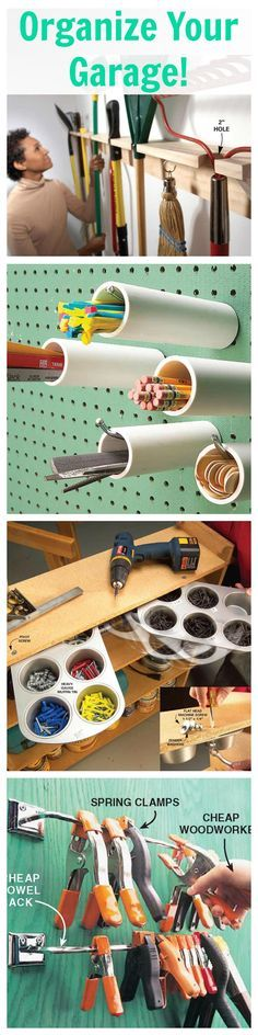 27 #Tips for an organized, tidy garage. Click for #DIY ideas and hacks: http://www.familyhandyman.com/garage/storage/reclaim-your-garage-organize-it