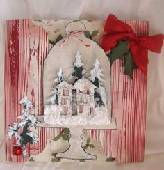 Tim Holtz Christmas Cards | Sizzix Tim Holtz's Bell Jar, Trees, and ... | Christmas cards - sno ...