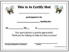 Award certificate for spelling bee participants from http://www.spelling-words-well.com/spelling-bee-certificates.html