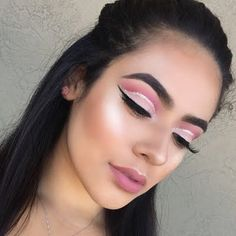 Pink Cut Crease with Glitter