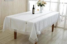 Ruby Embroidered Vintage Lace Design 60 X 88 Oblong  Rectangle Tablecloth Color Cream ** Click image for more details.