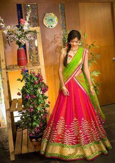 Pink and green half Saree