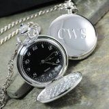 Engraved Silver Plated Pocket Watch - This engraved silver plated pocket watch is the perfect groomsmen gift. Crafted of a clean silver plated setting, each pocket watch may be engraved with a monogram. Also makes a great birthday gift. Personalized Pocket Watch, Personalized Wedding Gifts, Black Face Watch, Gifts For Wedding Party, Wedding Ideas, Party Gifts, Wedding Favors, Wedding Things, Bridal Gifts