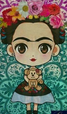 New wall paper celular frases frida ideas Frida Kahlo Cartoon, Little Girl Drawing, Hamsa Art, Pop Culture Art, Decoupage Vintage, Mexican Art, Pug Love, Painting & Drawing, Disney