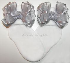 ce11ffa6e1449 Frilly Silver Organza Satin Bow Socks
