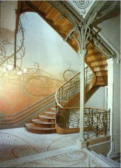 Art Nouveau stairwell in Hotel Tassel, Brussels, Belgium - built 1892-1893 (designed by Victor Horta)