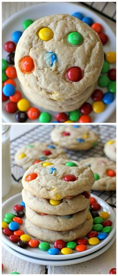 M&M Cookies - Soft, chewy cookies loaded with colorful M&M's. A batch of cookies that both kids and grown-ups will love, and so perfect for the holidays!