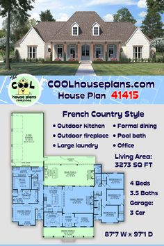 Sometimes referred to as the Acadian style of architectural design, this French country home plan is on its way to being our most popular French design over 3000 square feet. Perfect symmetry and an INCREDIBLE covered rear porch are two of the reasons. The rear porch offers an outside kitchen, seating area and a wood burning fireplace. Before you build, visit our home plan site with over 30k house plans. #frenchcountry #acadian #houseplans #homedesign #homeideas #floorplans #homebuilding Modern French Country, French Country House Plans, European House Plans, Garage House Plans, 3 Car Garage, Local Builders, Farmhouse Floor Plans, House Blueprints, New Home Designs