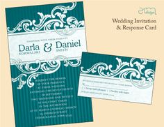 Teal Stripe #Wedding Invitation by EmDesign