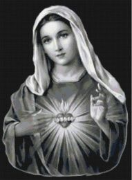 Handmade Black and White Virgin Mary Sacred Heart Cross-Stitch Pattern Blessed Mother Mary, Blessed Virgin Mary, Madonna, Virgin Mary Art, Mary Tattoo, Jesus E Maria, Images Of Mary, Religious Tattoos, Cross Stitch Heart