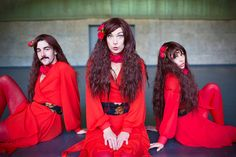 A gallery of images showcasing the red Kate Bush replica Cathy dress and accessories for The Most Wuthering Heights Day Ever