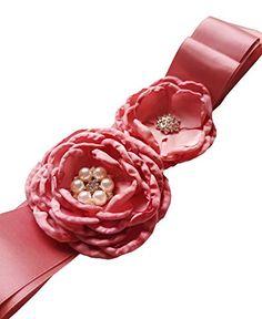 Lemandy Two Camellias Ribbon Bow Sash Flowers Wedding Belt Wedding Sashes in 6 Colors (Navy) Wedding Sash Belt, Wedding Belts, Sash Belts, Camellia, Ribbon Bows, Fashion Brands, Wedding Flowers, Amazon, Color