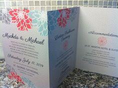 Aqua & coral wedding invitation | Floral | Peonies | Summer | Modern | DIY | Tri-fold | z-fold