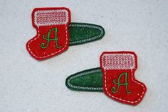 SET of 2 Personalized Monogramed Christmas Stocking Hair Bow Pigtail Clippies by CouldYouBeAnyCuter on Etsy