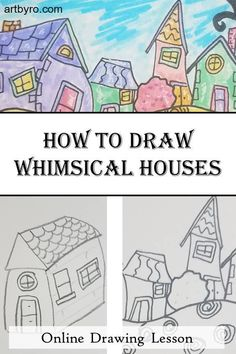In this lesson you'll learn step by step how to draw whimsical houses. We'll bring it all together by creating an artist trading cards that. Guy Drawing, Drawing Skills, Drawing Lessons, House Drawing, 30 Day Drawing Challenge, Art Tutorials, Drawing Tutorials, Art Trading Cards, Directed Drawing