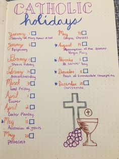 Perfect way to keep track of HD of Obs! (Holy Days of Obligation) January Bullet Journal, Bullet Journal Inspo, Bullet Journal Layout, Bullet Journals, Bullet Journal Cheat Sheet, Bullet Journal Spread, Journal Notebook, Journal Pages, Journal Ideas