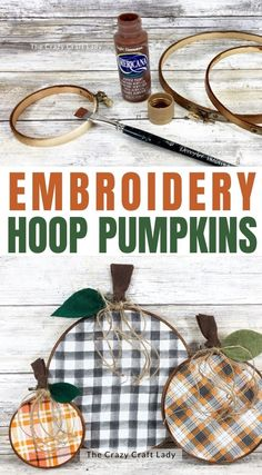 fall embroidery hoop pumpkins
