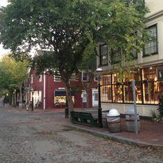 Downtown Nantucket. Charming cobblestone streets