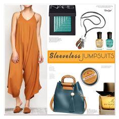 """Sleeveless Jumpsuit"" by mycherryblossom ❤ liked on Polyvore featuring Victoria Beckham, NARS Cosmetics, Deborah Lippmann, Burberry and injury"
