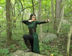 Elven Costume Set Dress Leather Belt & bracers Handmade and for sale by FolkOfTheWood on Etsy.  $360