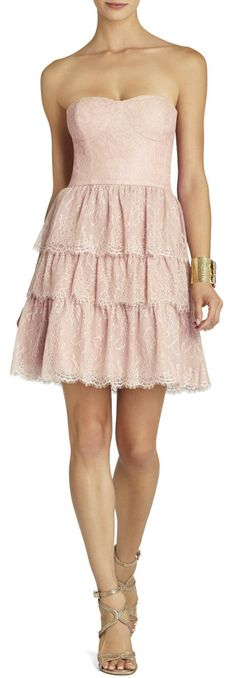 Lilah Tiered Lace Strapless Dress with a jean jacket or a blazer