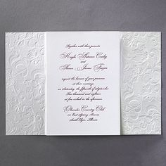 Lacy Opulence - Invitation by Carlson Craft Opulence defined. Shimmering embossed paper, sheer ribbon and a printed card hidden inside create a lace wedding invitation that's the ultimate in elegance. Discount Wedding Invitations, Classy Wedding Invitations, Wedding Invitation Design, Wedding Stationary, Invites, 7th Wedding Anniversary, Wedding Expenses, Personalized Napkins, Embossed Paper