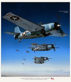 WWII. U.S. Grumman F4F Wildcats in formation, 1943. Colorized photo.
