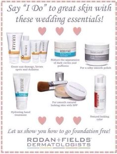 Are you getting MARRIED or Mother of the Bride? Wedding Season is coming!!! Get your skin ready with Rodan + Fields skin care for FLAWLESS, LUMINOUS complexion for the BIG DAY. All products 60 day Guarantee or your money back!  Ask me how to become a PREFERRED CUSTOMER ... SAVE 10% and get FREE SHIPPING!! #bestskincare