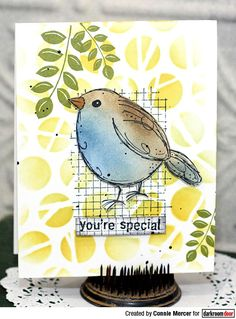 crafty goodies: Three cards using the new Grid/Texture stamp by Darkroom Door~ Crazy Bird, Bee Cards, Art Journal Pages, Junk Journal, Art Journaling, Animal Cards, Small Quilts, Flower Cards, Homemade Cards