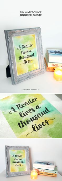 DIY Watercolor Calligraphy Bookish Quote - Curly Made