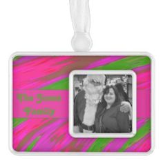 Add your own photograph to this Colorful Pink Ornament #zazzle #christmas #xmas