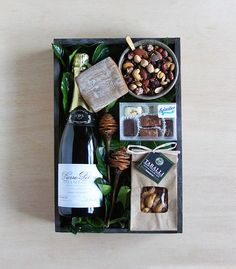 A lovely bottle of Champagne accompanied by hand-picked treats: 'Sparkling Crate' by Winston Flowers. Gift Crates, Wine Gift Boxes, Wine Gift Baskets, Gourmet Gift Baskets, Gourmet Gifts, Wine Gifts, Basket Gift, Diy Christmas Gifts, Holiday Gifts