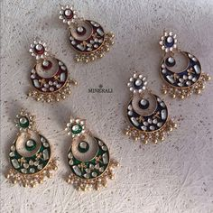 Wear elegance with these subtle and cute chaandbalis in bold colours. Get them…