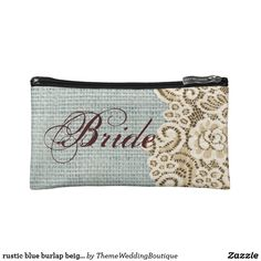 rustic blue burlap beige lace country bride makeup bag