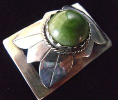 Mexican Jade Sterling Silver Brooch Raised by RenaissanceFair