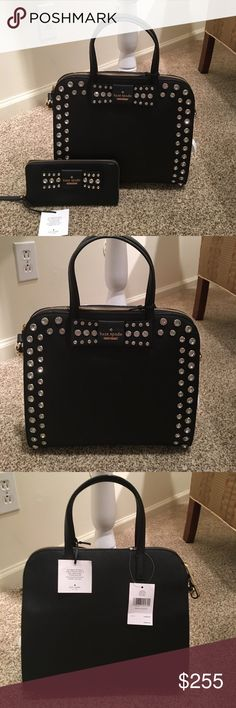 "Kate Spade Large Davis Mews Merriam Purse Handbag: Merriam Davis Mews $448 Details: -Color: black (001) -Style number: WKRU4768 - Saffiano Leather -Size: Measurement: L 12"" H 11"" W 5""  -Double handles with 5"" drop with 20"" crossbody adjustabler strap -Kate Spade signature on front bow with crystals accented on the bow -Entire zip closure for the handbag -Inside: 1 zip pocket, 2 slide pockets -Comes with a Care Card kate spade Bags"