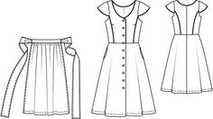 :: Crafty :: Sew :: Clothing 3 ~ Cap Sleeve Dress with Apron Pattern