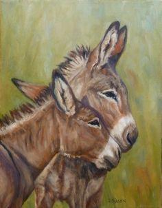 Animal Art~ Nose to Muzzle Oil Painting ~ Donkey Art Farm ~ Animal Portraits Jackass~ Debra Sisson Cow Art, Horse Art, Animal Sketches, Animal Drawings, Art Painting Gallery, Farm Art, Equine Art, Animals Images, Wildlife Art