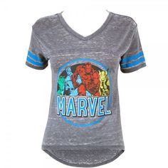 Womens Marvel Comics Burnout T Shirt Grey ($27) ❤ liked on Polyvore featuring tops, t-shirts, gray t shirt, marvel comics, grey top, gray top and grey t shirt