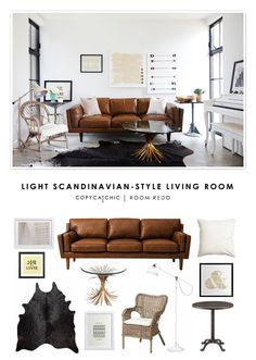 A light and neutral, Scandinavian-style living room designed by Leanne Ford and recreated for $2744