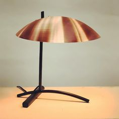 New DE table lamp in black and spun copper in stock and ready to ship for the holidays. Table Lighting, Light Table, Desk Lamp, Table Lamp, Copper, Interior Design, Ship, Holidays, Inspiration