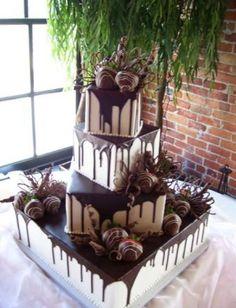 Chocolate Wedding Cake With Strawberries - Muscoreil's - square cake with chocolate covered strawberries ...