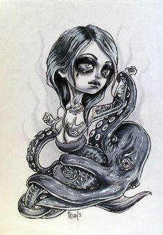 Mermaid and the Octopus by mai-coh on deviantART Mermaid Tail Drawing, Mermaid Tails, Octopus Mermaid, Mermaid Art, Sugar Skull Artwork, Sugar Skulls, Contemporary Art Artists, Tattoo Drawings, Tattoos