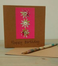 Birthday Card, Happy Birthday, Flowers, Eco Friendly Greetings Card by KathHeywoodDesigns on Etsy