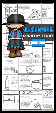 Explore the second largest country in South America and the eighth largest country in the world with this fascinating Argentina for Kids country study. As pre k, kindergarten, grade 1, grade 2, grade 3, grade 4, and grade 5 students color and read they will learn about this Spanish speaking country. Download the pdf file with these Argentina printable books will help teach about Argentina; their way of life, the culture, landmarks and interests. They will also learn about animals and birds as w Geography Activities, Preschool Learning Activities, Summer Activities For Kids, Teaching Kids, Kids Learning, Social Studies Worksheets, Kids Math Worksheets, School Lessons, Lessons For Kids